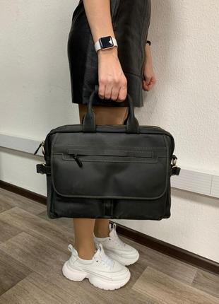 Розкішна чоловіча сумка-портфель з натуральної вінтажної шкіри