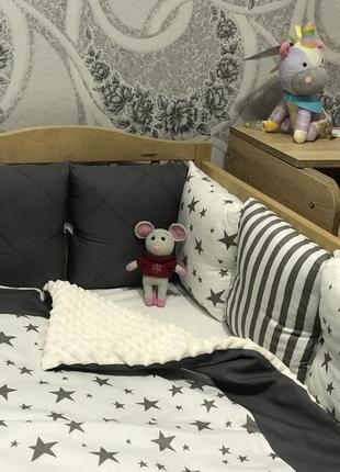 Постель детская, бортик в кроватку, подушечки