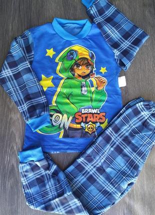 Трикотажная пижама с начесиком brawl stars бравл старс леон