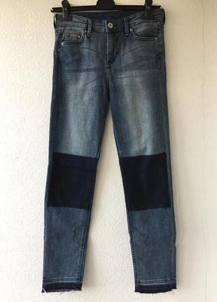 Актуальные плотные джинсы с накладками необработанный низ средняя посадка