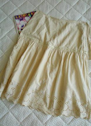 Коттоновая молочная юбка миди от h&m