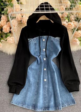 Джинсовое платье-топ с черной кофтой и капюшоном, джинсовое платье-бандо на пуговицах