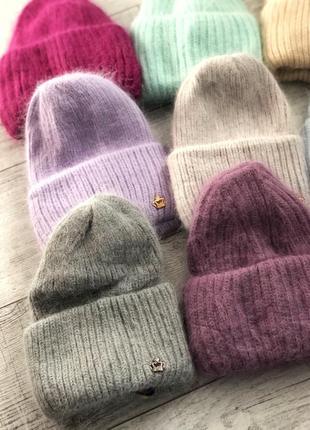 Тёплая ангоровая шапка шапка из ангоры на флисе