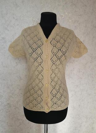 Вязаная ажурная шерстяная винтажная ретро кофта кофточка кардиган шерсть винтаж ручная