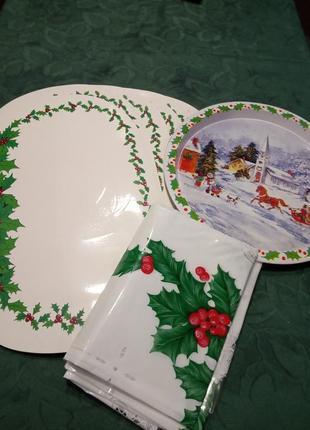 Комплект для рождественского стола. 6 ковриков для стола, скатерть, блюдо