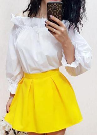 Акция! желтая оранжевая юбка в складку, колокол, р. s m l есть другие цвета