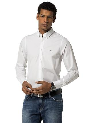 Рубашка классическая белая из котона tommy hilfiger