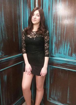 Черное вечернее/праздничное мини платье new look