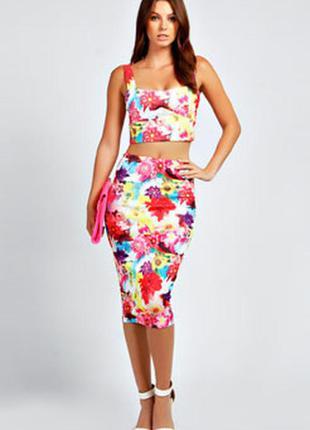 Фирменная юбка карандаш, сочные цвета р-р 8