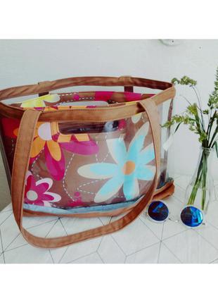 Красивая сумка 2в1 повседневная пляжная