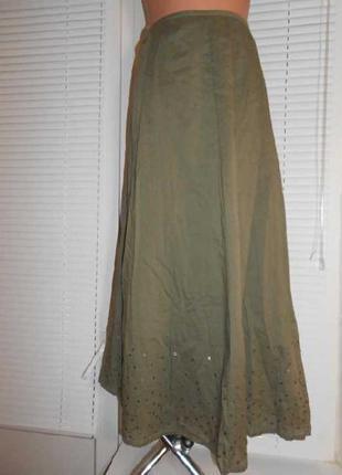 Суперовая, воздушная, летняя юбка цвета хаки, для шикарных дам. замеры в описании
