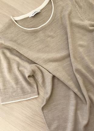 Нежная бежевая блуза футболка с коротким рукавом marks&spencer