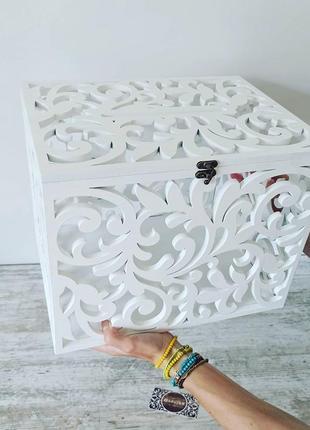 Шкатулка коробка з дерева весільна деревянная свадебная казна