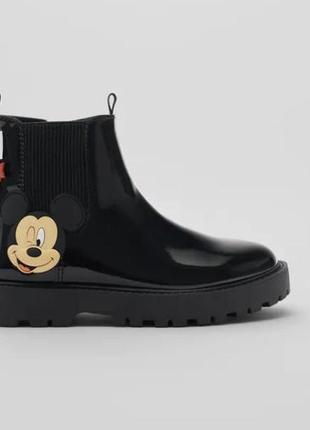 """Брендовые стильные ботинки-челси для девочки """"mickey mouse"""" zara (испания)"""