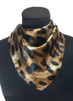 Платок маленький натуральный 100% шелк тонкий леопард коричневый шелковый новый