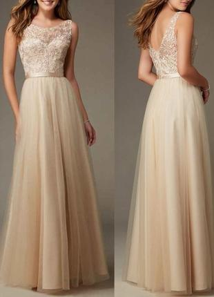 Красивое вечернее платье а-силуэта спина открытая кружевное недорогое на свадьбу подружке dl-5221