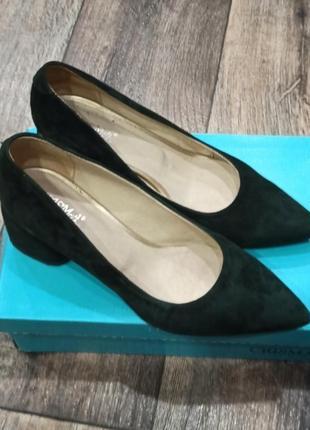 Замшевые туфли изумруд