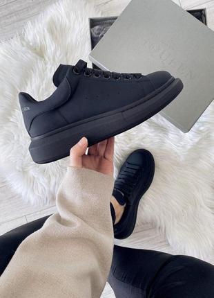 Alexander mcqueen black женские кожаные кроссовки черного цвета 😍