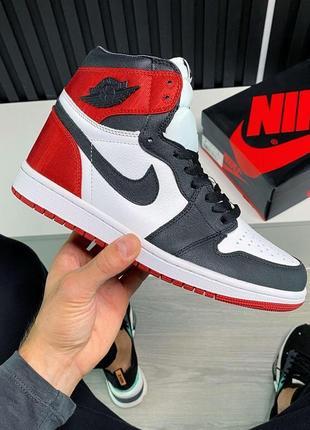 Jordan 1 retro high satin black toe женские кожаные кроссовки красного цвета 😍