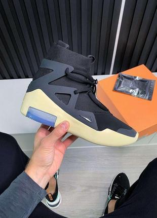 Nike air fear of god 1 black женские кожаные кроссовки черного цвета 😍