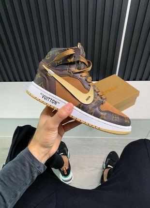 Nike air jordan 1 louis vuitton x off white женские кожаные кроссовки коричневого цвета 😍