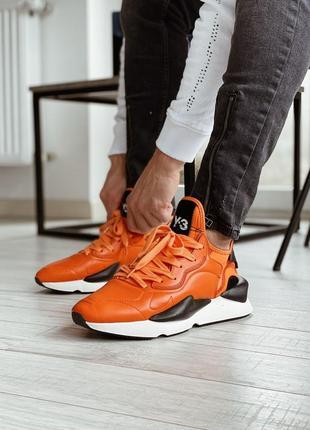 Adidas y-3 kaiwa solar orange мужские кожаные кроссовки оранжевого цвета 😍