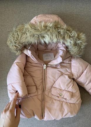 Детская теплая куртка zara 6-9 месяцев 74размер
