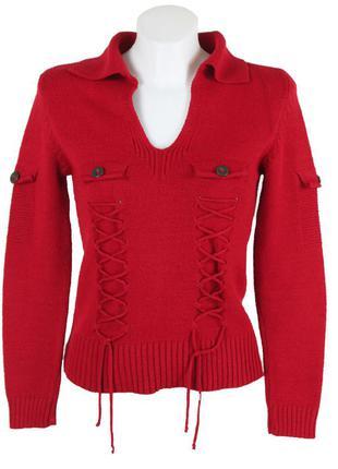 Красный джемпер со шнуровкой спереди