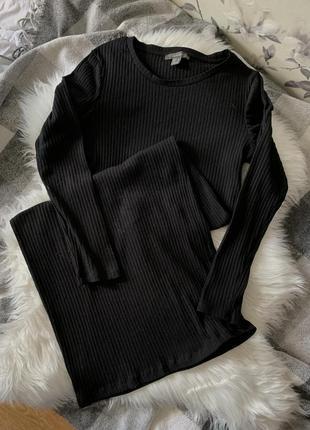 Платье миди в рубчик чёрное базовое длинное