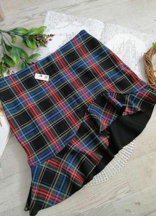 Стильная трендовая юбка в клетку ассиметричная zara шотландская клетка