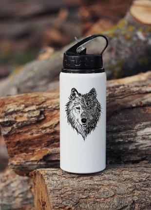 Бутылка для воды с волком