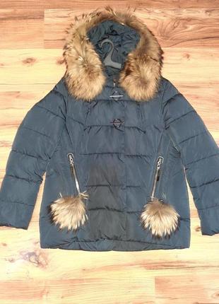 Женская стильная куртка пуховик с натуральным мехом енота, jarius 2xl (50, 52), беременным