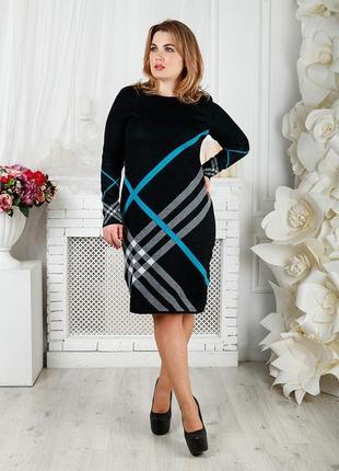 Теплое вязанное платье приталенного силуэта с красивым узором, one size 52-56 код 2407м