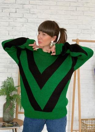 Свитер женский приятный к телу оверсайз зелёный