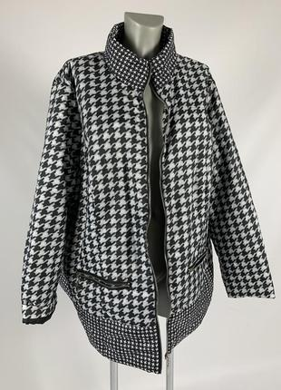 Женская осенняя куртка / принт гусиные лапки / размер 3xl