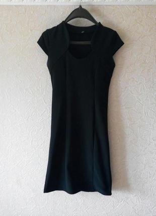 Чёрное,строгое,обтягивающее платье,миди,футляр