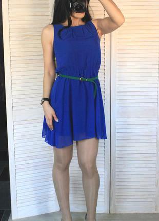 Платье синее шифоновое
