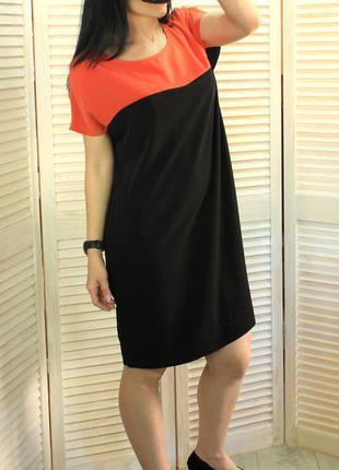 Туника-платье черно-оранжевое