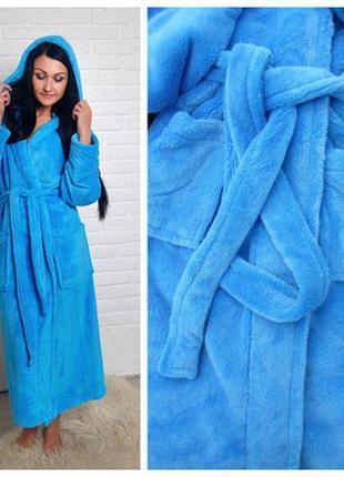 Голубой длинный махровый плюшевый халат с капюшоном. тёплый длинный халат. с - 6хл