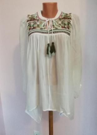 Шикарная вискозная блузка с вышивкой свободного фасона в етностиле /s/brend hallhuber