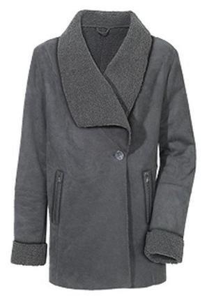 Мягкое демисезонное пальто под замш, дубленка от blue motion, германия, р-р s 36-38 евро