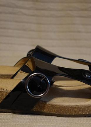 Ортопедические черные лакированные кожаные шлепанцы hotter comfort concept англия 42 р.