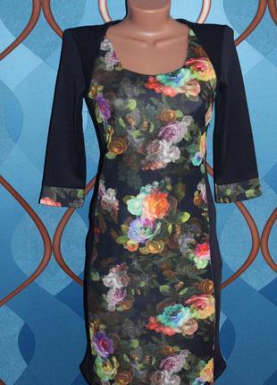 """Платье из плотного дайвинга """"цветы"""", размер 44"""
