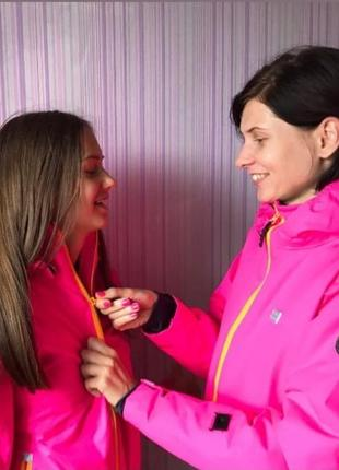 Яркая розовая зимняя детская куртка лыжная для девочки р.128,134 legowear