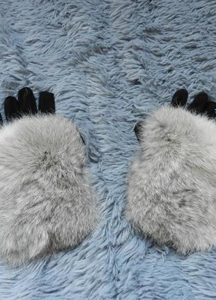 ✅ перчатки демисезон размер универсальный украшены натуральным мехом кролик
