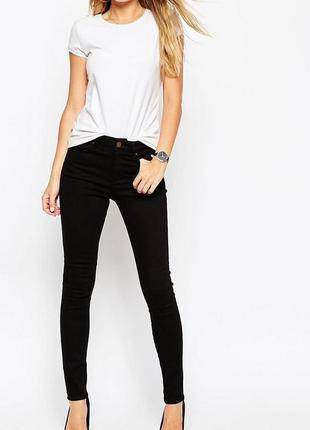 Черные джинсы скинни средней посадки new look