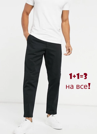 🎁1+1=3 фирменные черные мужские плотные прямые джинсы брюки marks&spencer, размер 50 - 52