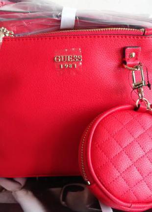 Guess оригинал. шикарные сумочки-кроссбоди через плечо. цвет красный