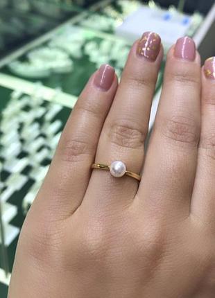 Кольцо золото 585 проба с натуральным жемучгом 17 размер