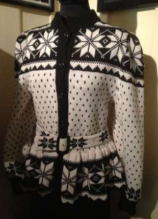 Норвежский свитер кофта кардиган шерсть с баской ручная работа оригинал из норвегии!!!